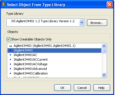 7 From the Type Library drop-down, select the IVI Agilent 34401A (Agilent Technologies) 1.2 Type Library Version 1.2, and then select the IAgilent34401 object. Click OK.