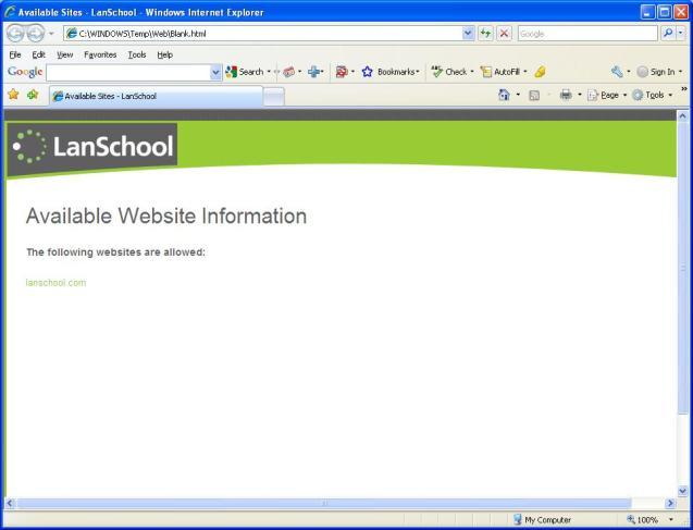 Web Limiting Block all student web browsing Allow certain websites on IE, Firefox and Chrome * and?