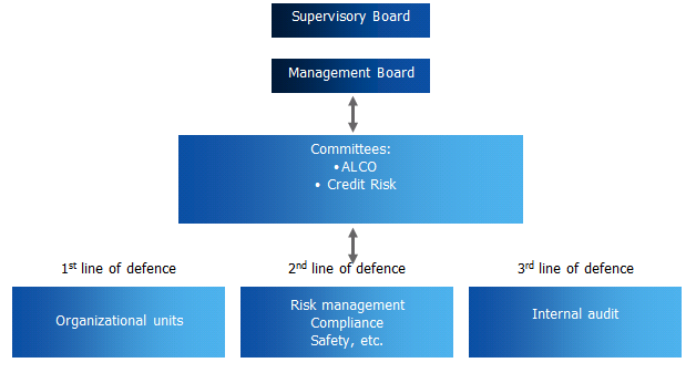 Risk management system The risk management system at PZU and PZU Życie is based on three elements: organisational structure - comprising the division of responsibilities and tasks performed by the