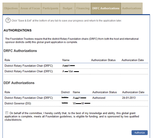 On the DRFC Authorizations page, the district Rotary Foundation committee chairs will authorize the application.