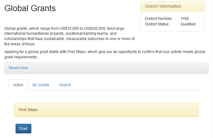 This is the main Rotary Grants application page. To begin a global grant, click on Global Grants.