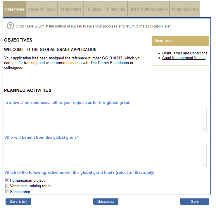Answer the questions on each tab of the Application, starting with the Objectives. Select the activity type.