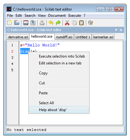 Figure 7: Context help in the editor.