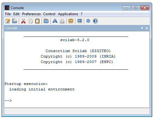 Figure 1: Scilab console under Windows. 1.3.1 Installing Scilab under Windows Scilab is distributed as a Windows binary and an installer is provided so that the installation is really easy.