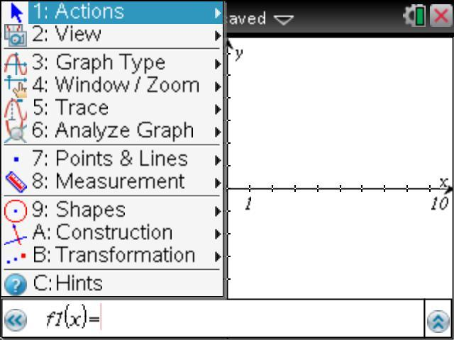 3.1 Graphs menu (numbers 1-9, plus options A, B, and C). The same menu in the TI-Nspire version 3.2 Graphs menu features only 9 menu options. Menu as it appears in TI-Nspire version 3.