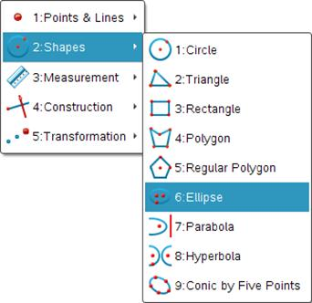 Also new in TI-Nspire version 3.2 is the ability to draw Conics as a geometric object.