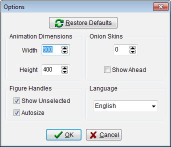 31 Options The options window can be accessed by clicking 'Options' in the Edit menu.