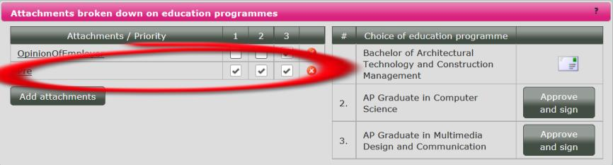 4.6 Printing your application If you add the attachment directly to a programme, the document will automatically be attached to that choice only. You can add further choices, if it is relevant.