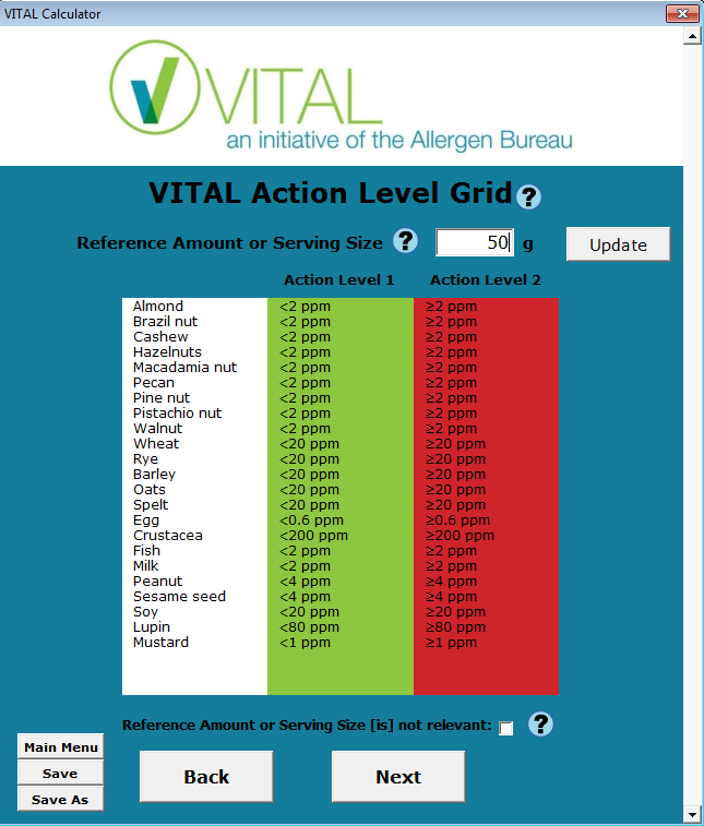 VITAL Action Level Grid Enter the Reference Amount or Serving Size for this product.