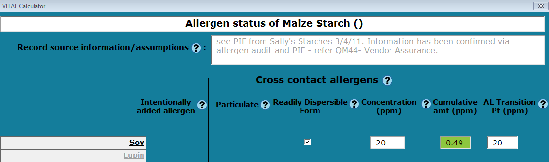 Note that Cumulative amt (ppm) column indicates the cumulative total for that allergen. Where an allergen is identified as Intentionally added, the column will display INT.