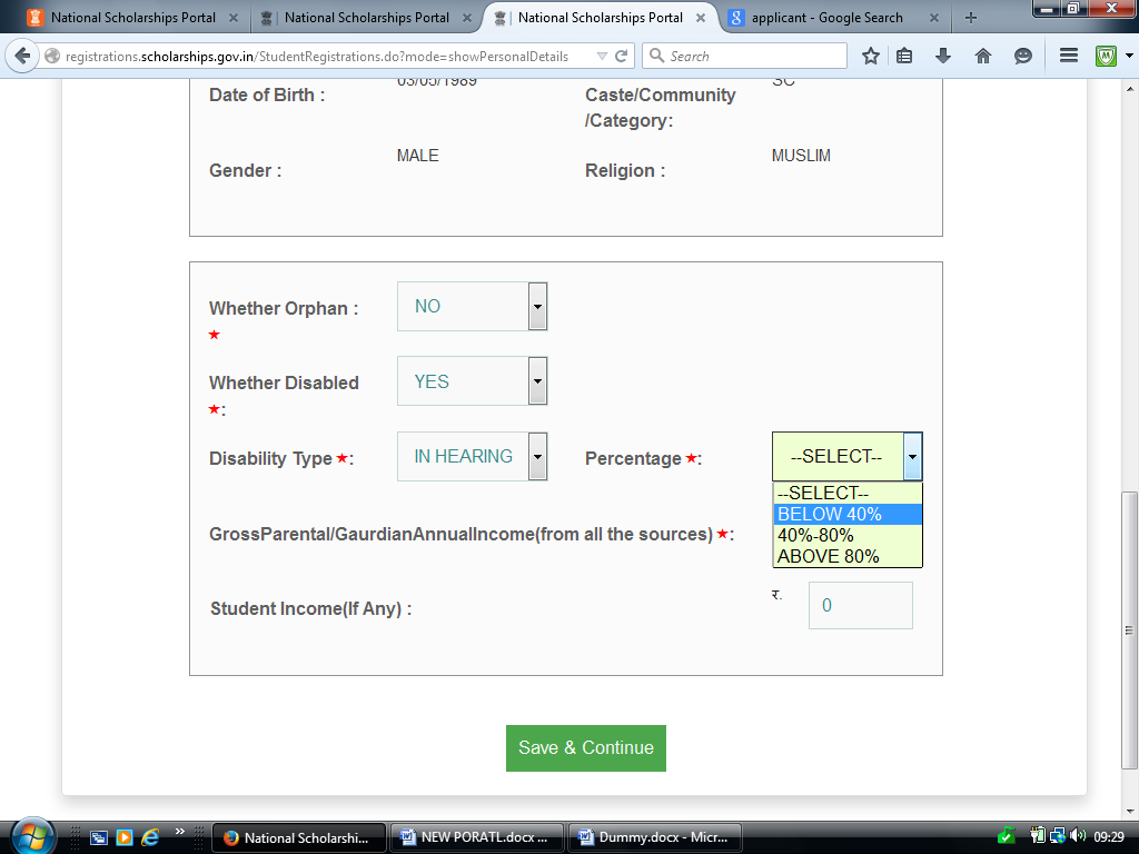 choose applicable option from drop down. Example-The applicant is not Disable.