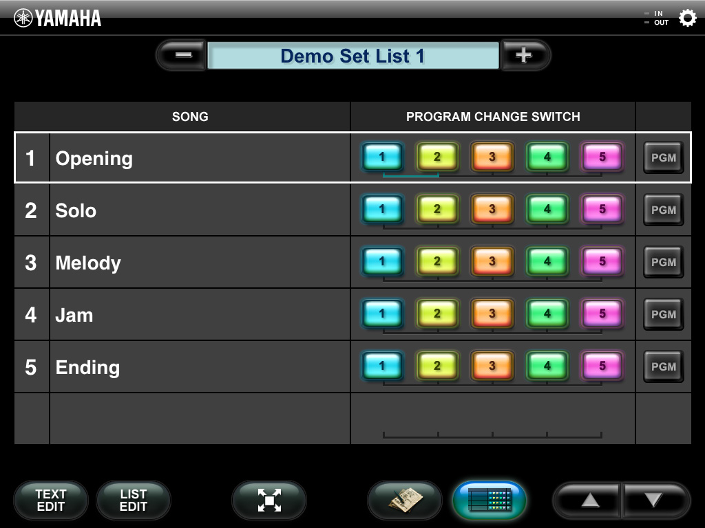 Main display The Main display lets you control the Program Change settings of the MIDI instrument. This display features two view types: Song List view and Song Text view.