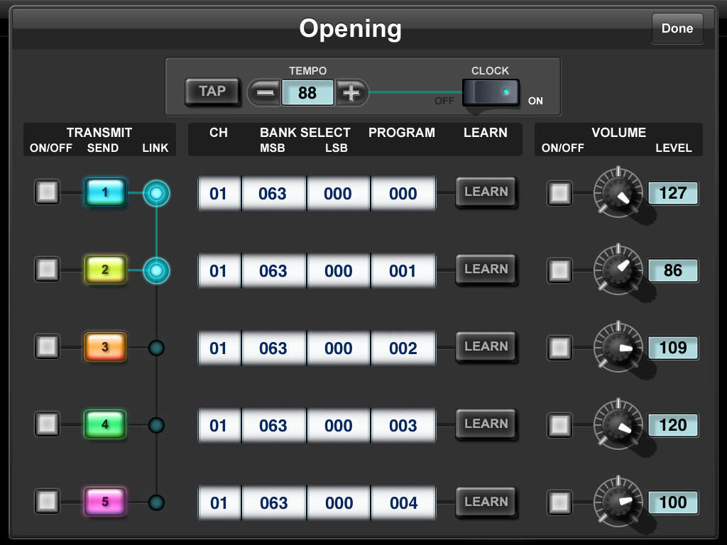 Program Change Edit window This window lets you assign the Program Change setting including MIDI channel, Bank Select and the volume value to each Program Change button.
