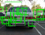138 Chapter 6. Evaluation of Our Contribution For Class Object Detection Figure 6.7: Sample detections on the car-rears dataset (only the highest-ranked window per image is shown).