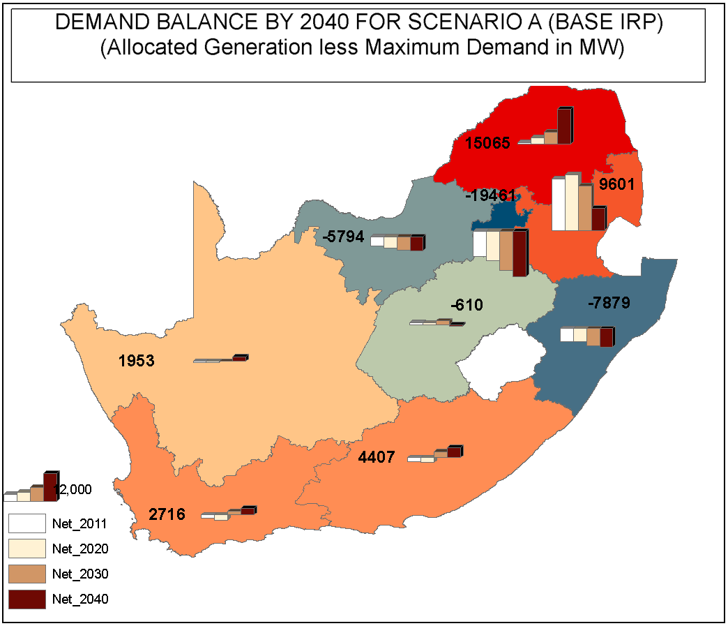 Figure 50 Map of the provincial demand balances