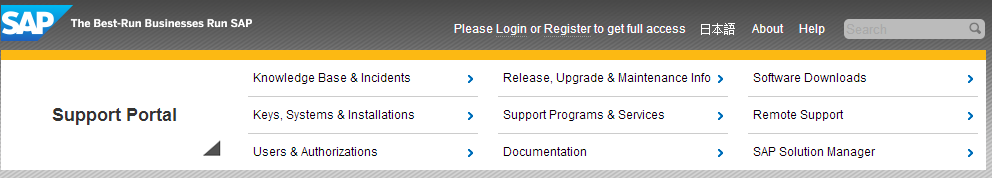 What s New on the SAP Support Portal Navigation Updates Slight adjustments have been made to the top level navigation structure of the SAP Support Portal.