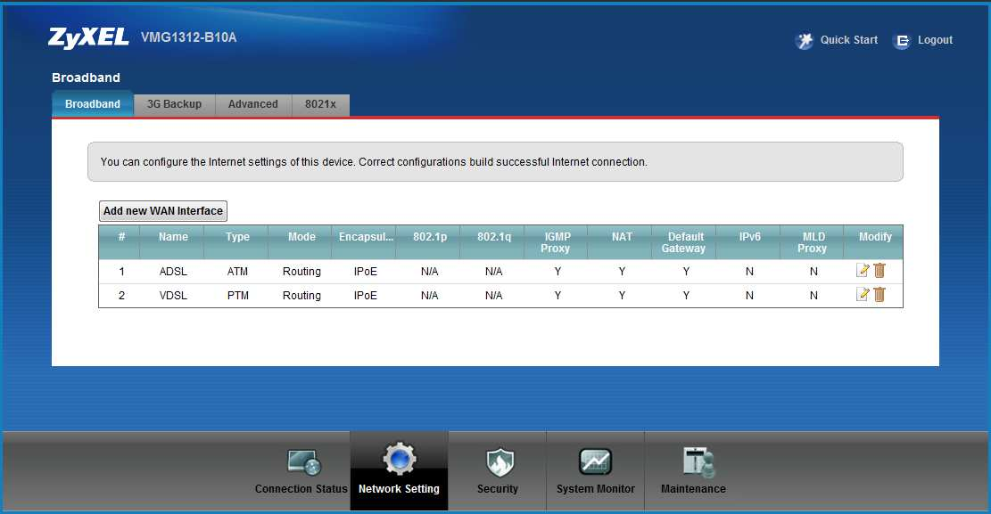 4. Broadband VDSL Interface Configuration 1. Click Network Settings > Broadband to modify the type of the WAN Layer 2