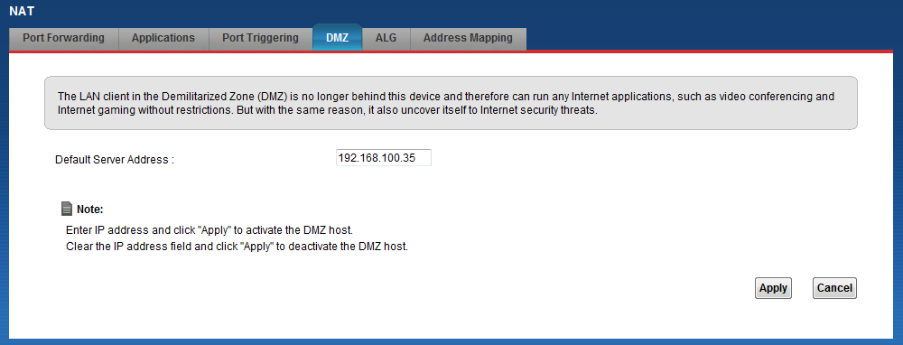 DMZ Host Configuration If we enable the DMZ host, it will open up all the internal ports to the dedicated Server IP (in this case, IP = 192.168.100.