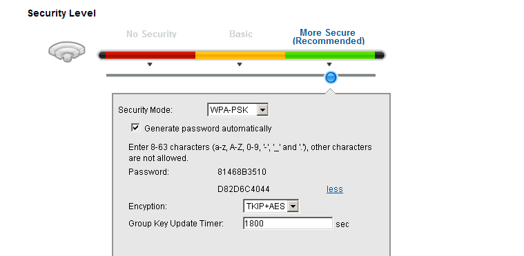 c. Wireless Setup Using Auto Generate Key. 1. Go to Network Settings > Wireless > General. 2. Check the Enable box. 3.