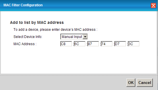 c. MAC filtering 1. Go to Network Settings > Wireless > MAC Authentication. 2.