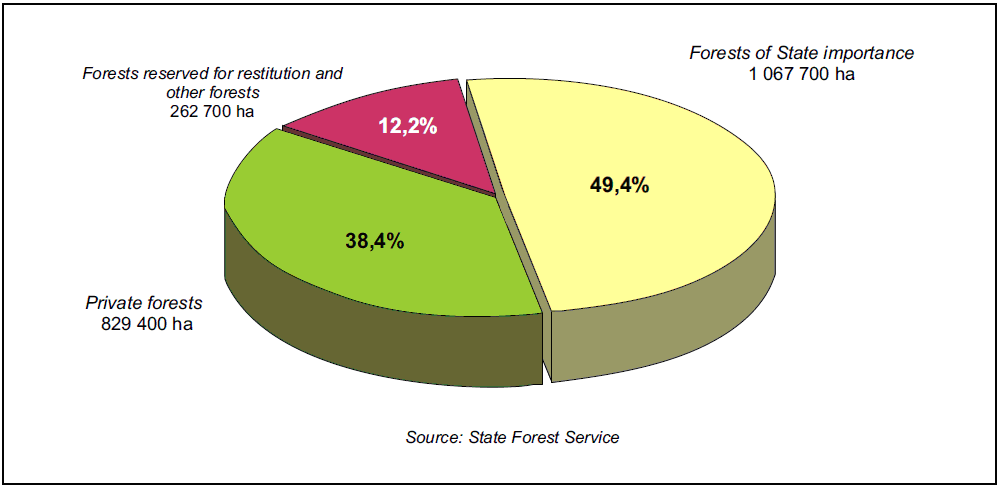 Fig. 18. Forest land by ownership 01.01.2010 The implementation of forest policy and strategy is under the responsibility of the Forest Department at the Ministry of Environment.