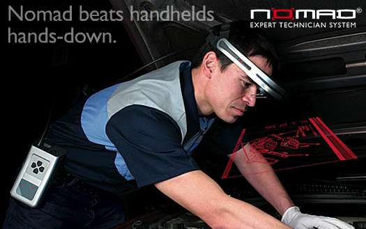 10 percent faster when compared to the current situation which is using notebook computers [39]. Figure 6 : Microvision's Nomad Display System for Technicians [39] 2.5.