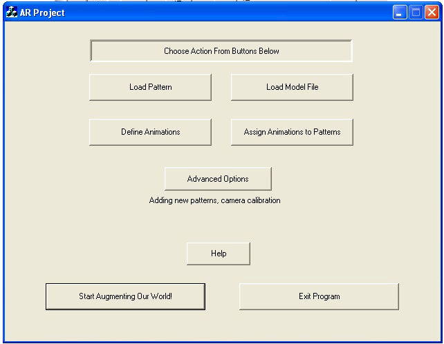 5.1.3.1 AR Main Interface Identification and Diagram Figure 20: Main page of the AR Project Load pattern button opens the dialog for adding, editing and deleting patterns.