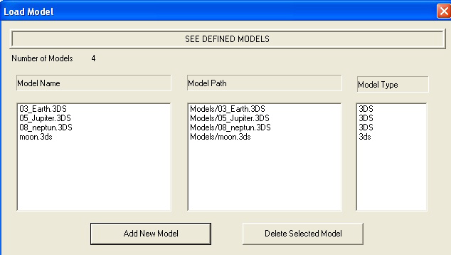 Figure 31: The properties of.3ds model files seen in Load Model section. (Part of the screen) After adding models, we can see the models added as seen in Figure 31.