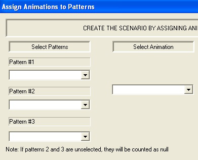 Figure 32: Assigning animations to patterns. (Part of the Screen) After then we select the corresponding animation from the animation table.