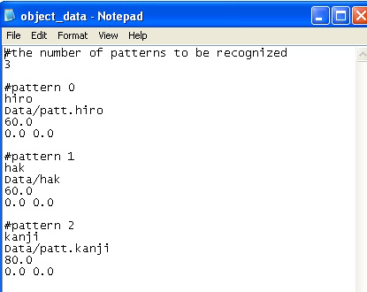 Figure 39: Sample object_data file. Model_Data file holds the information about patterns as seen in figure 40.