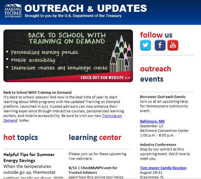 Subscribe to the MHA enewsletter Includes program updates, outreach