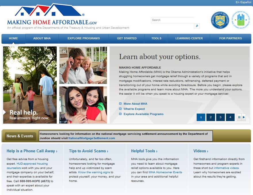 Understand MHA Options Visit MakingHomeAffordable.