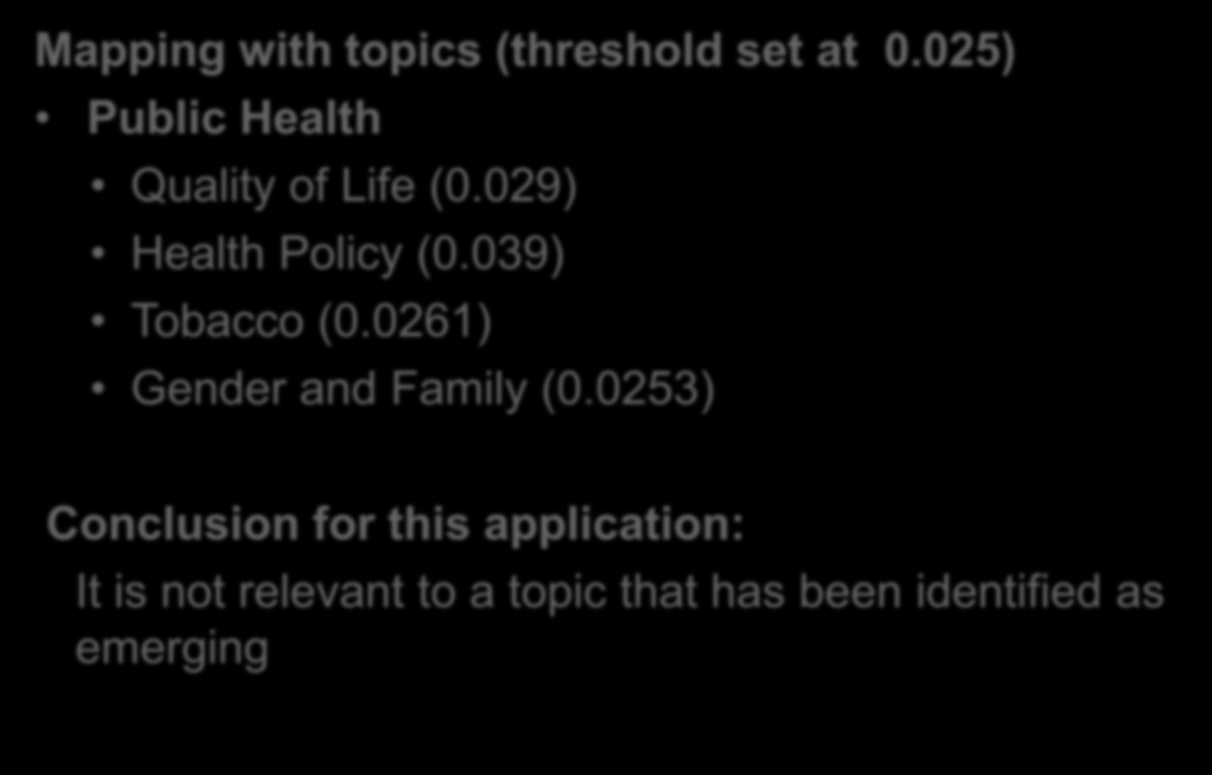 Matching of Applications : Example Mapping with topics (threshold set at 0.025) Public Health Quality of Life (0.029) Health Policy (0.
