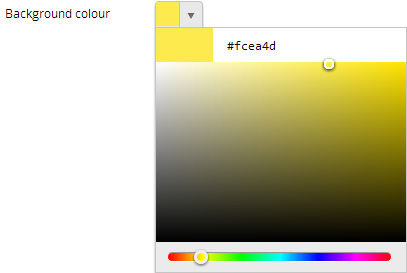 Background To customise the Background click on the drop-down menu and select Solid Colour or Image.