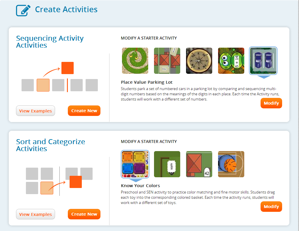 Introduction Create Activities Here you will see a collection of templates grouped by the activity type.