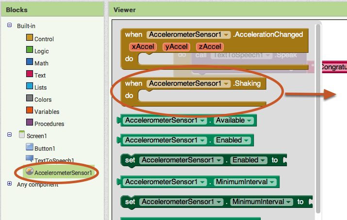 "Go to the Blocks Editor Click ""Blocks"" to program the new Accelerometer Sensor that you just added."
