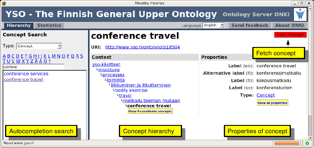 Figure 2: The ONKI-SKOS Browser. be shown in the default view and the default concept type used in restricting the concept search.