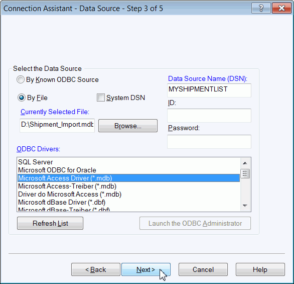 using the Connection Assistant 3. The Connection Assistant Select the Data Type Step 2 of 5 window appears. Click the down arrow in the Import Data Types box and select Shipment. 4.