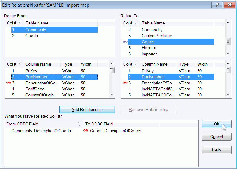 using the Connection Assistant 17. The Edit Relationships for Import Map window appears. Note: This window has four selection boxes.