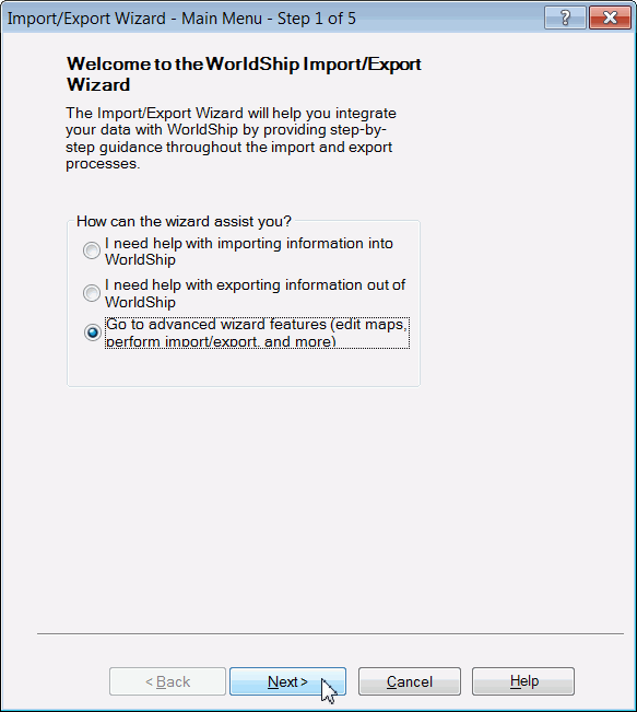 using the Import/Export Wizard 9. The Import/Export Wizard Data Connected to WorldShip Step 5 of 5 window appears. Select Return to Wizard Main Menu. 10.