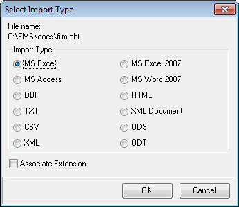 28 Here you can select which import type for supported file formats should be applied to import the selected file.