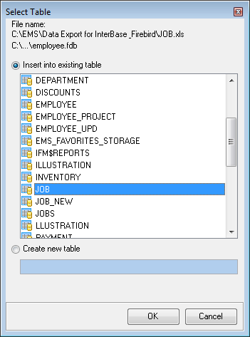 30 File name field displays the selected file name and its location. Database field allows you to specify the target database.