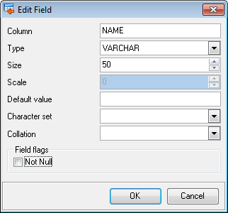 85 4.3 Add/Edit field When you import data with destination table creation, you can manage this table's fields. Use the context menu to Add/Edit/Drop a field.