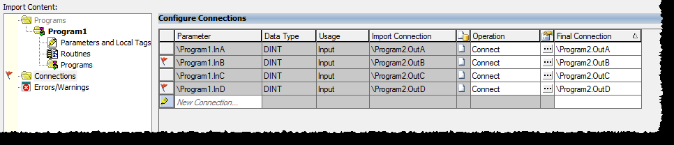 Chapter 1 Import and export logic components To open the Connections grid, click Connections on the Import Configuration dialog box.