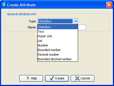 CHAPTER 3. IMPORT SEQUENCES 9 Figure 3.1: Adding attributes. Figure 3.2: The list of attribute types. First, select what kind of attribute you wish to create.
