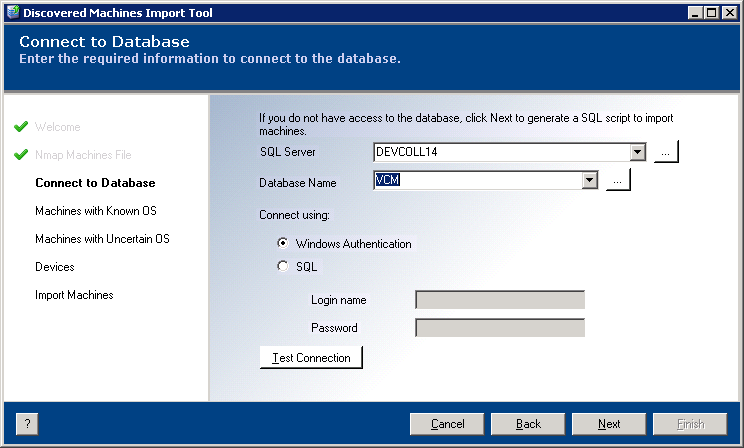 VMware vcenter Discovered Machines Import Tool User's Guide Step 2: Configure the Database Connection You must configure the database connection and connect to the database to obtain useful