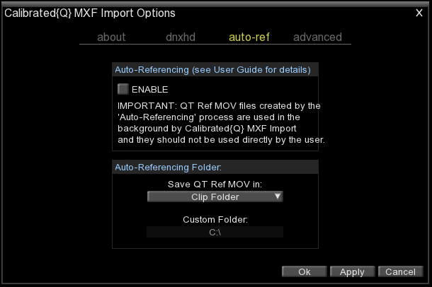 auto-ref options (See the Chapter 4: Auto-Referencing for more information regarding workflows) Auto-Referencing (Please see next chapter Auto-Referencing for more information) ENABLE This will