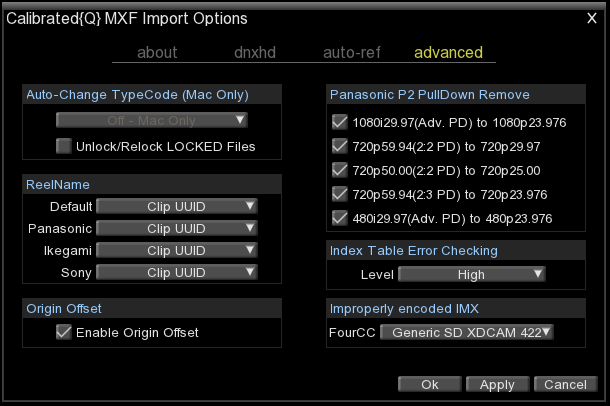 advanced options The advanced page contains options for various advanced options when Calibrated{Q} MXF Import opens a MXF file.