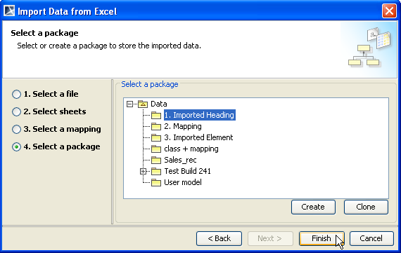 package option page (Figure 73). Figure 73 -- Selecting a Package to Store the Imported Elements 7.