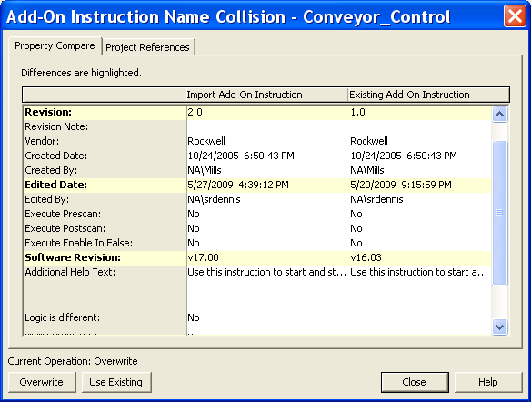 Chapter 6 Import and Export Add-On Instructions 3. Review the Import Configuration dialog box, and from the Operations pull-down menu, choose Overwrite. Choose Overwrite. 4.